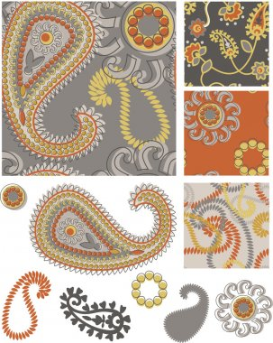 Vector Paisley Seamless Patterns and Icons.
