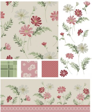 Meadow Flower Vector Seamless Patterns and Icons.
