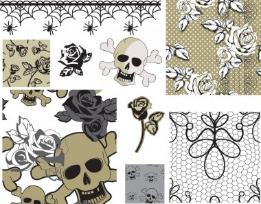 Floral Rose Skull Vector Seamless Patterns and Icons.