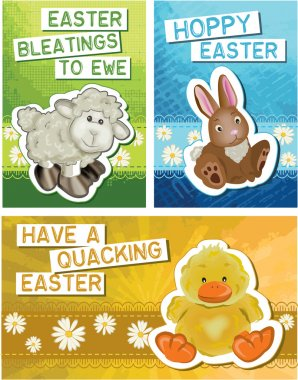 Set of 3 Easter Greeting Cards.