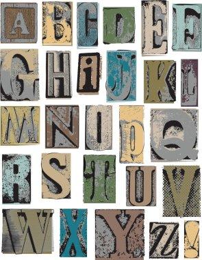 Letterpress Style Alphabet Vector Letters
