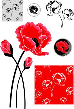 Red Poppy Vector Elements
