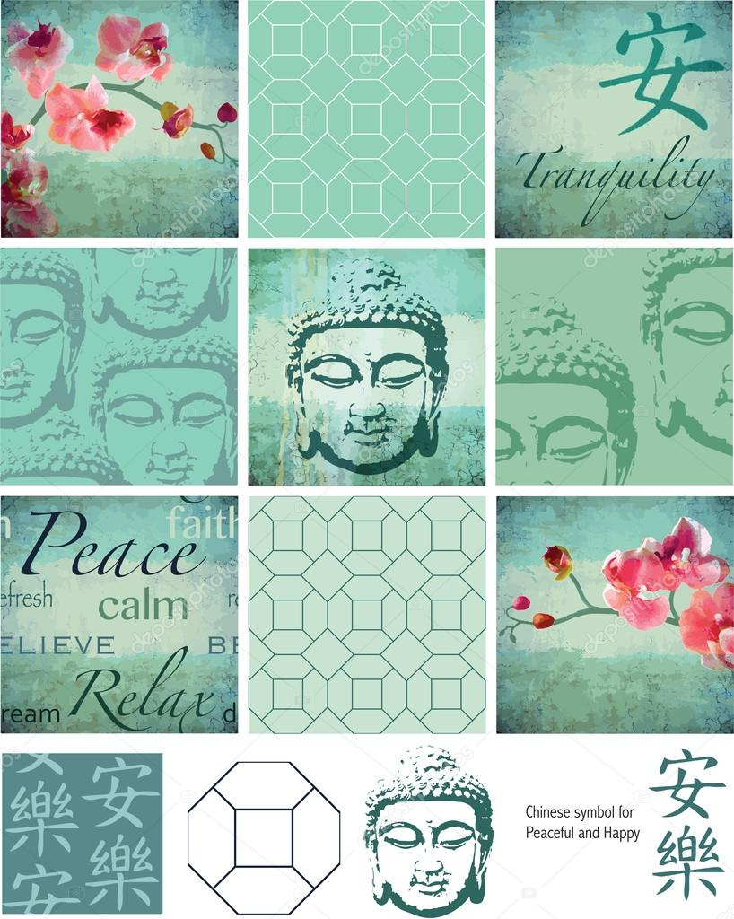 Thai Buddha inspired grunge vector patchwork pieces and elements
