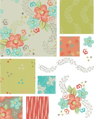 Spring Flower Vector Seamless Patterns and elements.