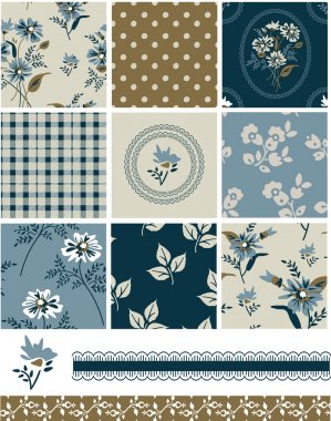 Spring Meadow Floral Seamless Vector Patterns and elements.