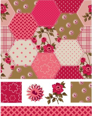 Vintage Inspired Patchwork Rose Seamless Patterns and Icons. Use as fills, digital paper, or print off onto fabric to create unique items. stock vector