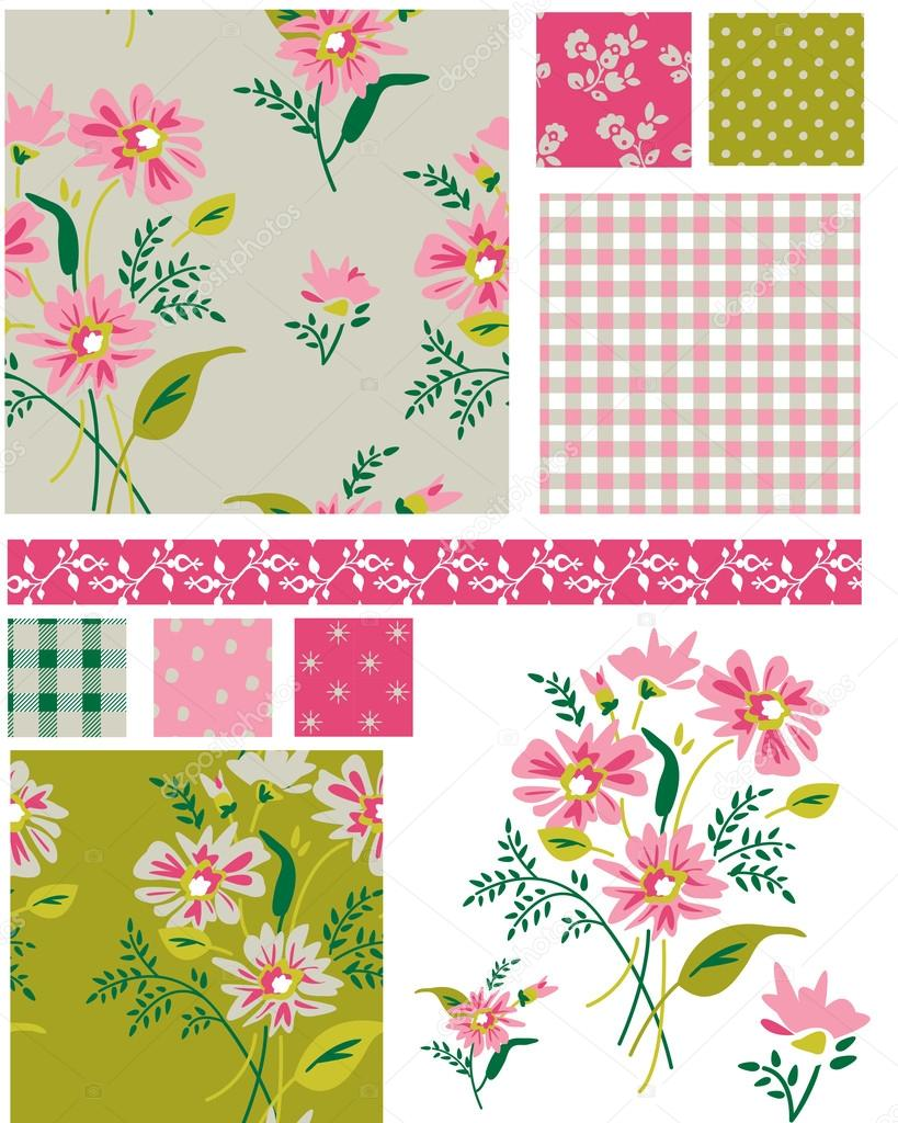Spring Meadow Floral Seamless Vector Patterns and elements. Use as fills, digital paper, or print off onto fabric to create unique items. stock vector