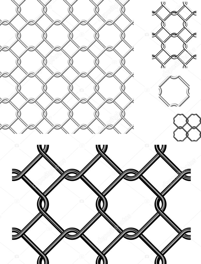Wire Fence Vector Seamless Patterns and Elements. — Stock Vector ...