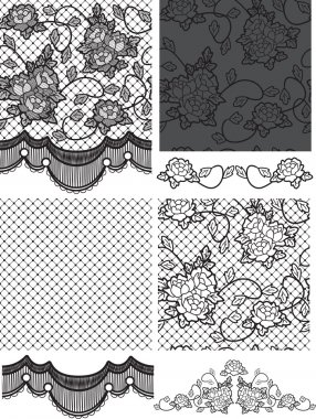 Gothic Style Lace Vector Floral Seamless Patterns.