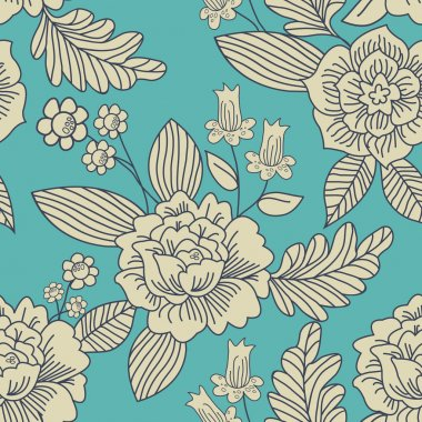 Contemporary Floral Vector Seamless Pattern.