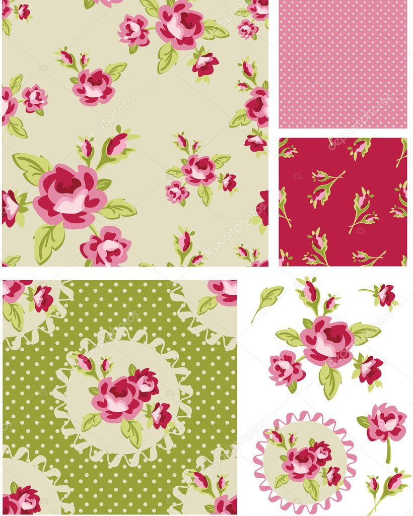 New Rose Floral Vector Seamless Patterns. Use as fills, digital paper, or print off onto fabric to create unique items. stock vector