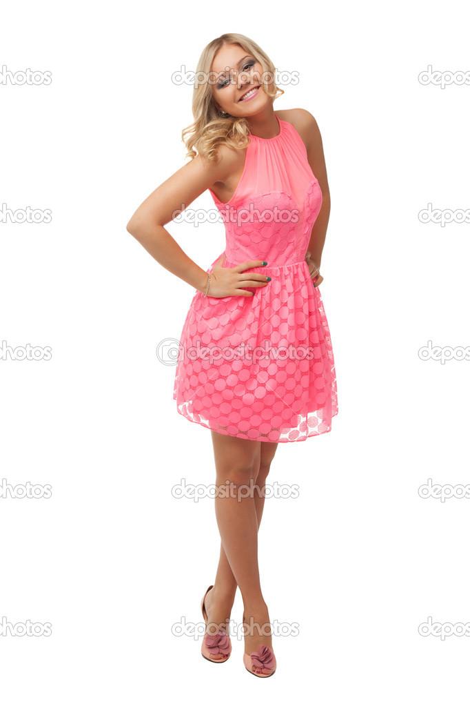 vestido Hermosa en rosa rubia mujer zapatos blanco y aislados zZOwPqZ