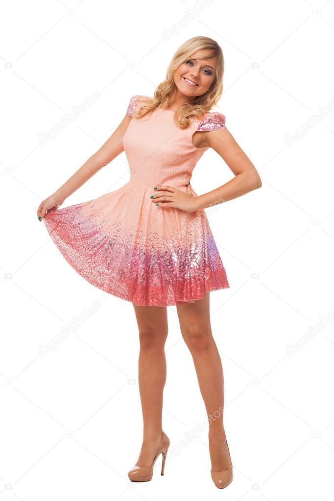 hermosa mujer rubia vestida con zapatos y vestido rosa — Fotos de ...