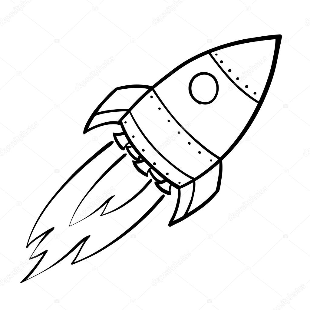 rocket space drawing - 728×778