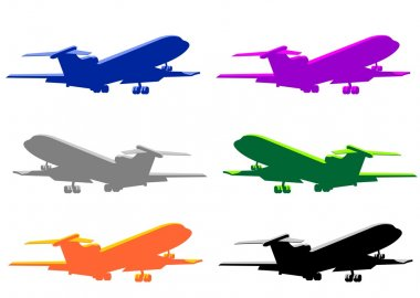 Set of six airplanes illustrations isolated on white. stock vector