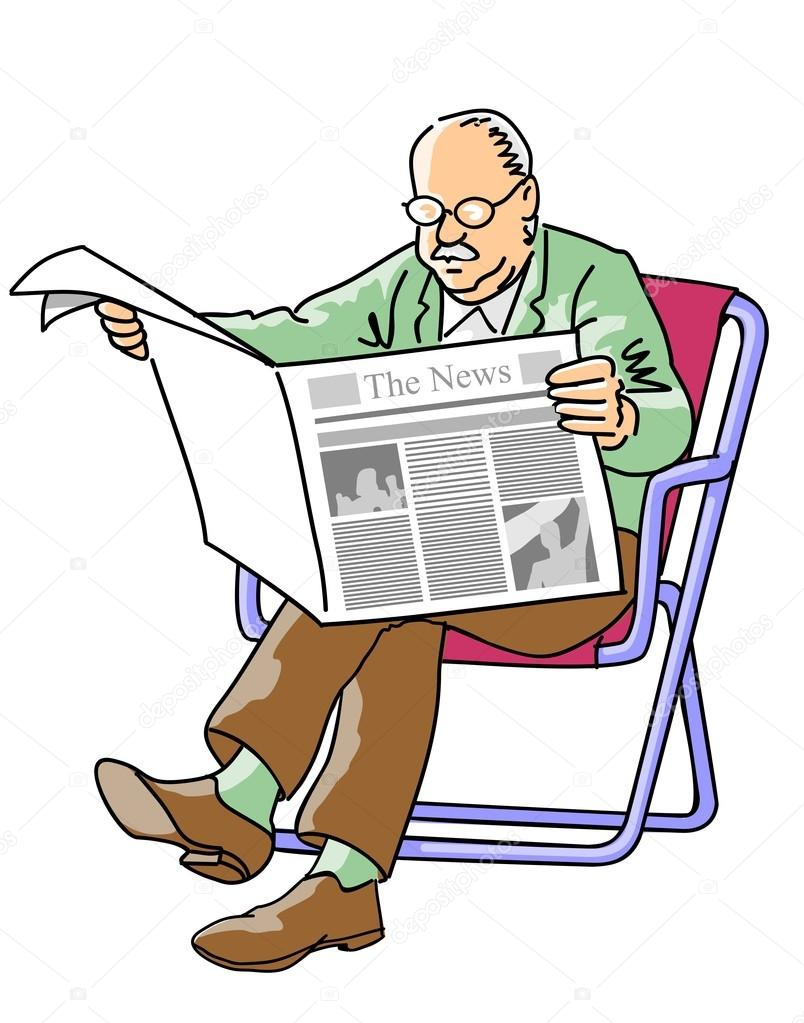 grandfather reading the newspaper — stock vector © photoestelar