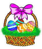 Fotografie Easter Basket with a pink bow