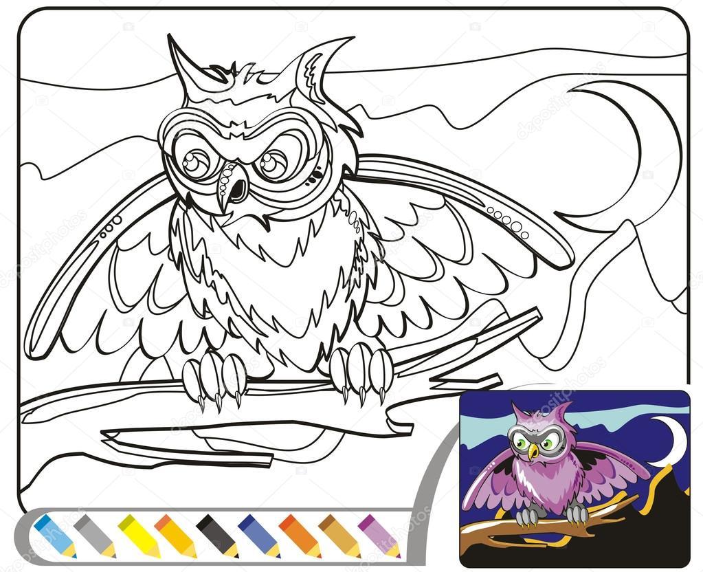 Para colorear dibujo de libro: El buho de la noche — Vector de stock ...