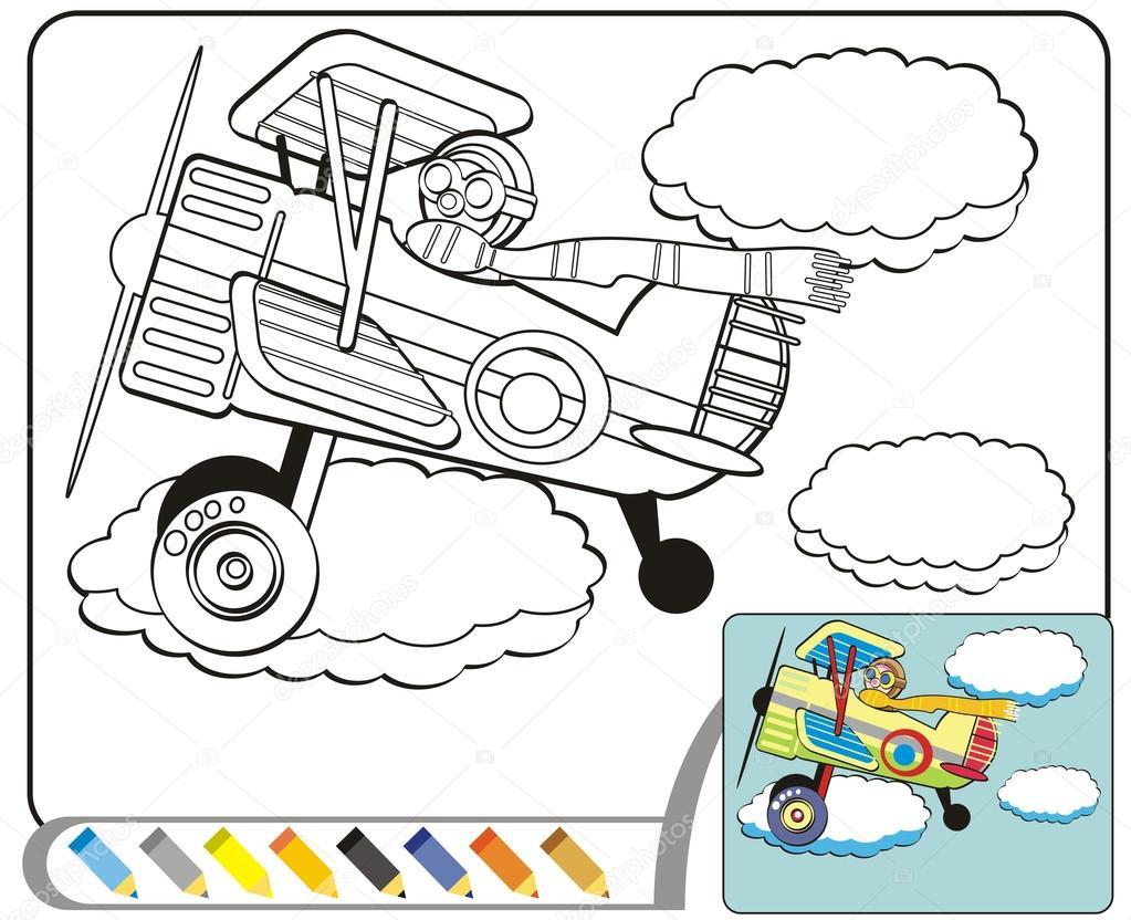 Para colorear dibujo de libro: El aviador — Vector de stock ...