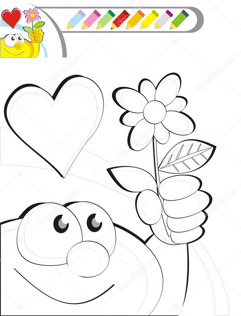 Para colorear dibujo de libro: Una flor para mi mamá — Vector de ...