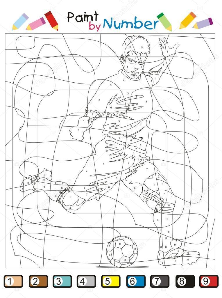 Número De Pintar Pintar Por Número El Jugador De Fútbol Vector