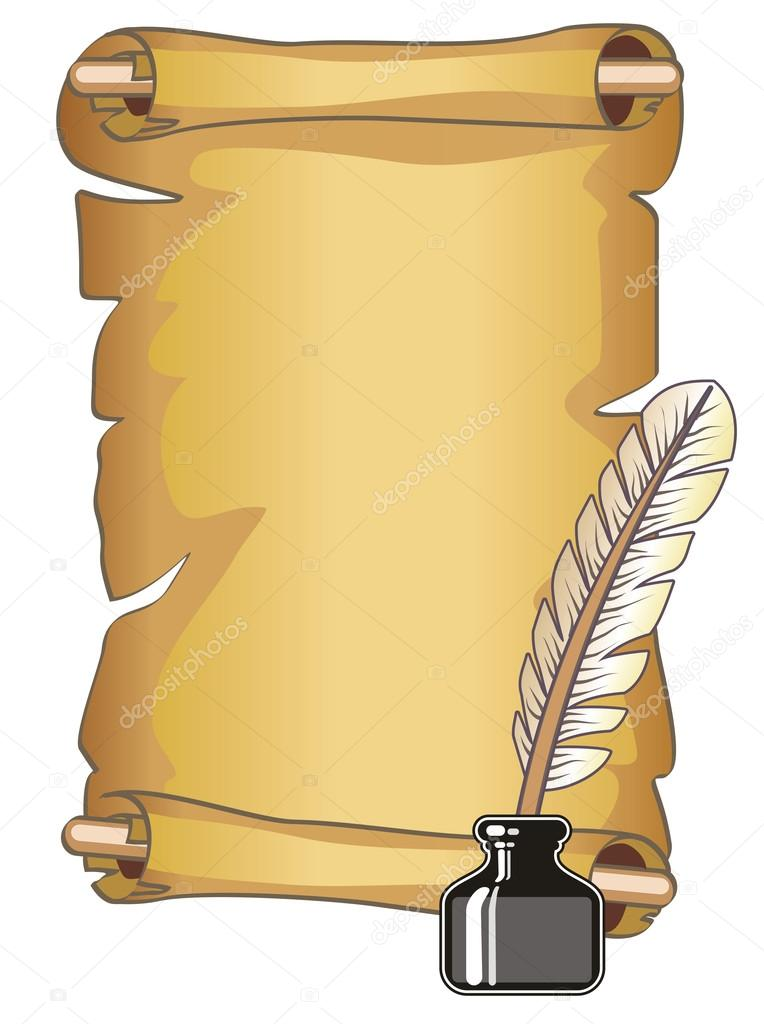 Parchment Scroll And Quill Pen Stock Vector