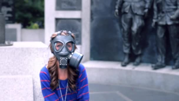 Girl, gas masks, blue eyes