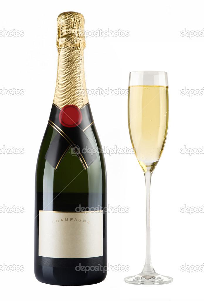botella de champagne y copa de champ n fotos de stock. Black Bedroom Furniture Sets. Home Design Ideas