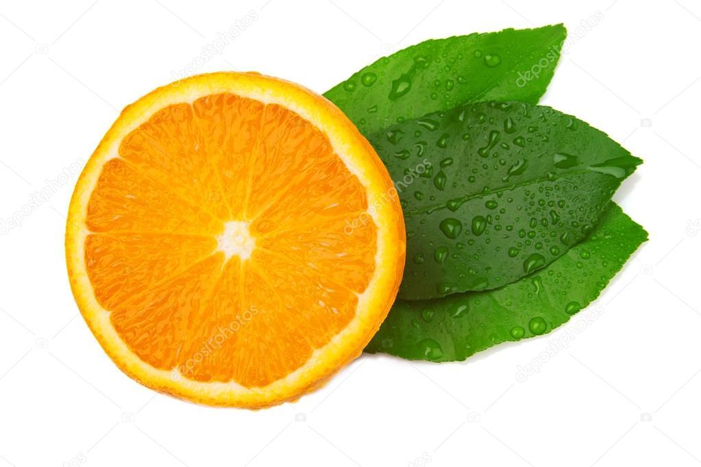 Half of orange and three leaf