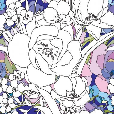 Elegance Seamless pattern with flowers roses,