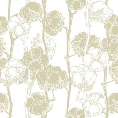 Elegance seamless pattern with cotton flowers