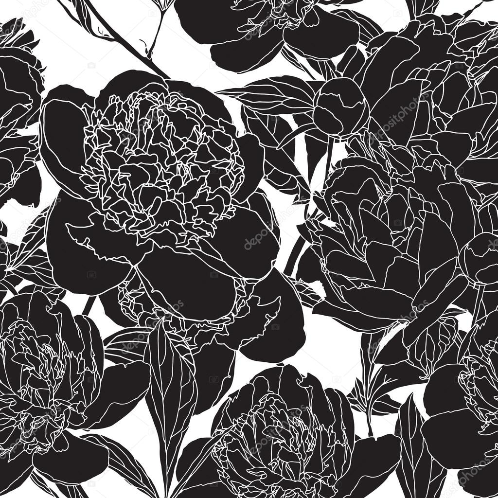 Elegance Seamless Pattern With Flowers Peon Black And White Vector