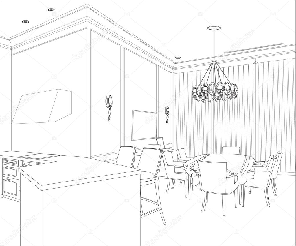 3d graphical drawing interior stock vector polina21 for Interieur tekenen