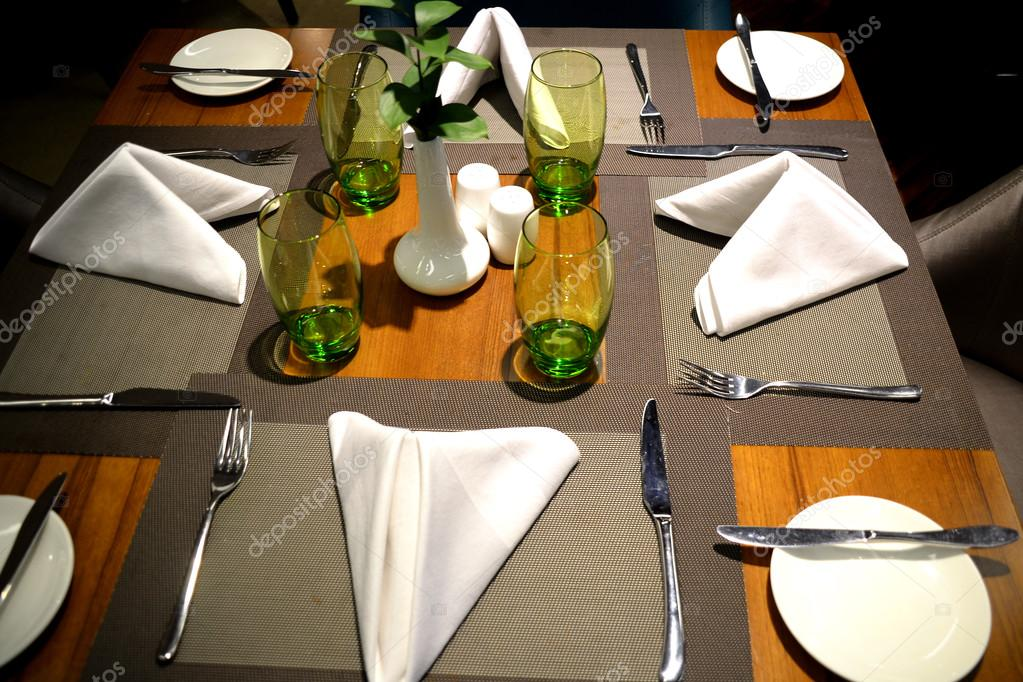 Table Setting In Fine dining High Class Restaurant Stock