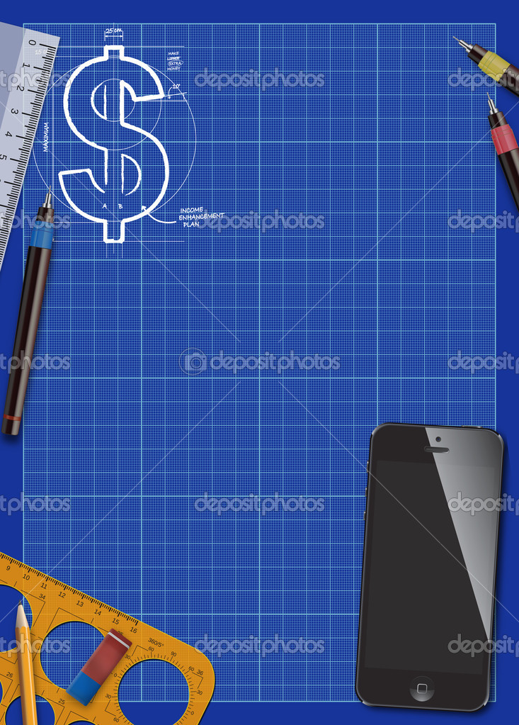 Business blueprint and smart phone background stock photo abstract business blueprint and smart phone poster background with space photo by istonehun malvernweather Choice Image