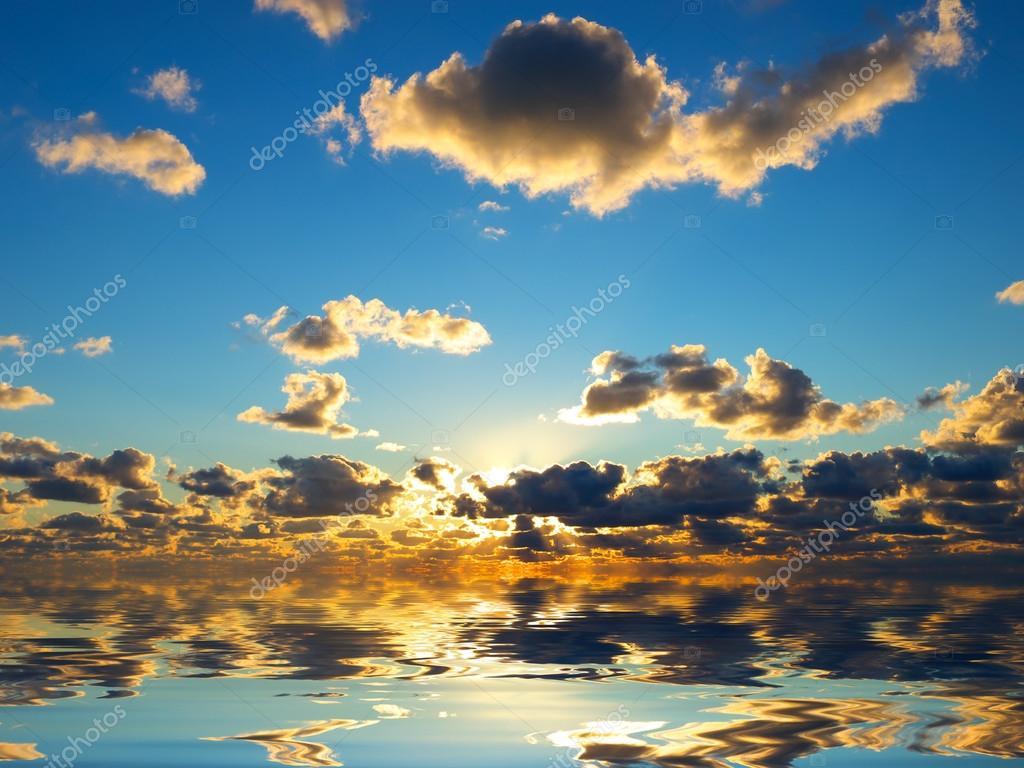 Calm sea and sky during sundown