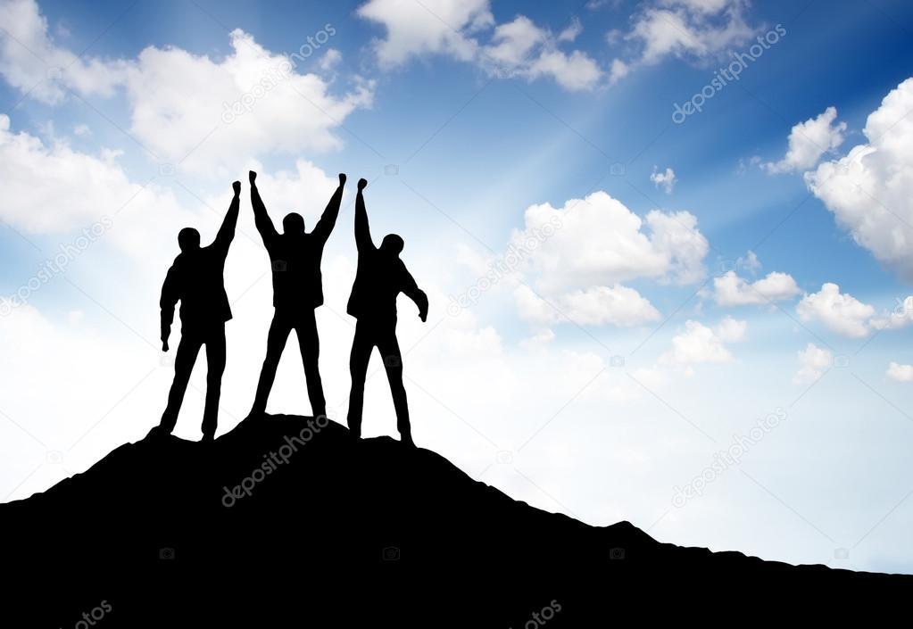 Winners team on the mountain top