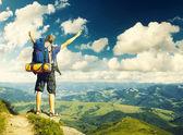 Fotografie Tourist on  sky background