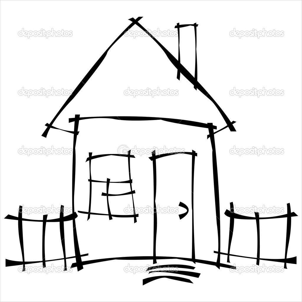 vector skizze haus stockvektor aleksbond57 23749253. Black Bedroom Furniture Sets. Home Design Ideas