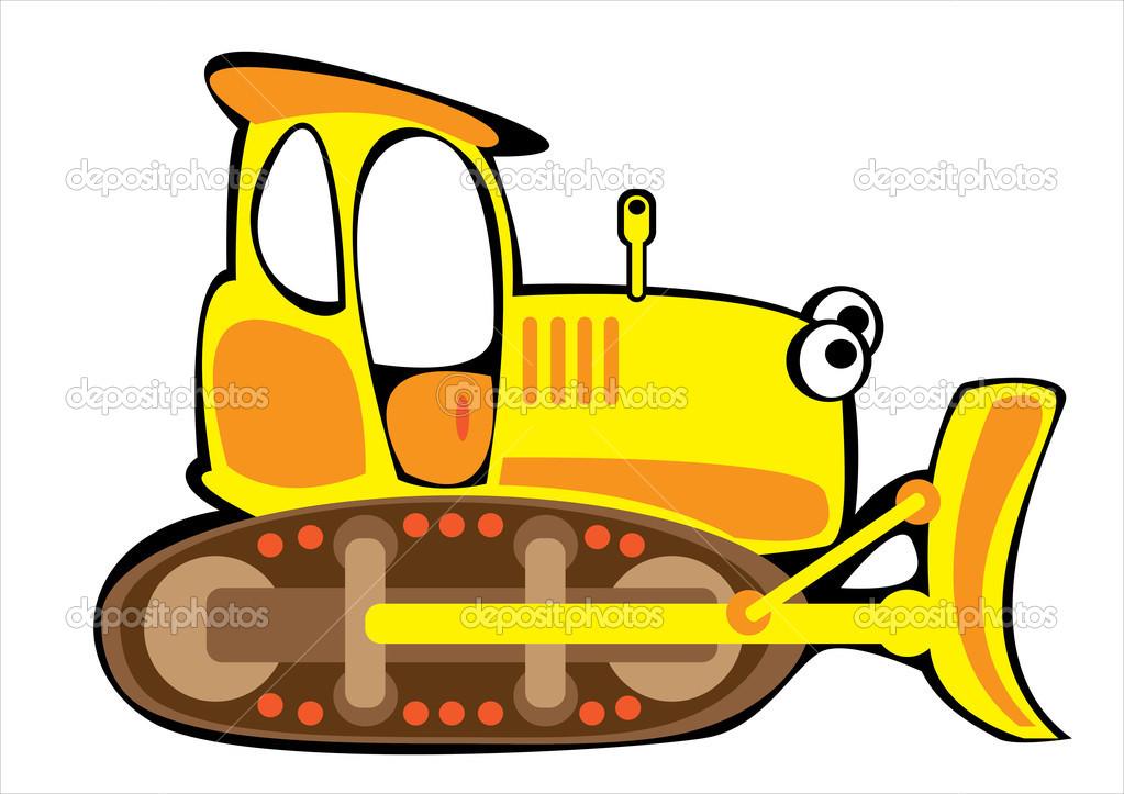 Bulldozer di vector giallo cartone animato isolato su