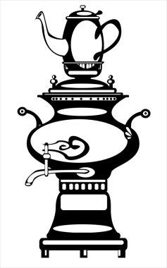 vector illustration samovar on white background