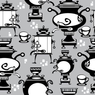 Seamless illustration samovar on gray background
