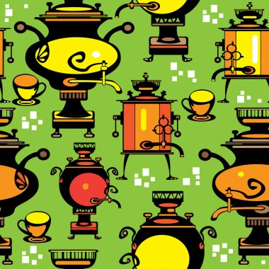 Seamless pattern multicolor samovar