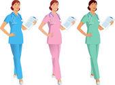 Fotografie Krankenschwester, Arzt, medizinische Assistentin in drei Farbvarianten