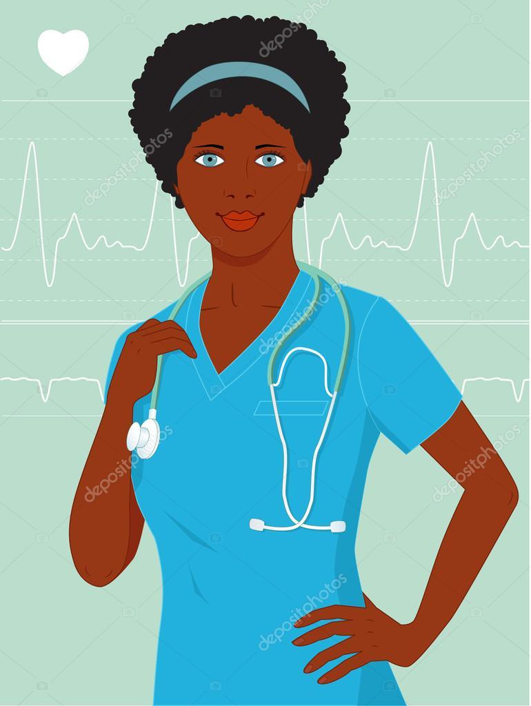 cute black nurse of young doctor � stock vector 169 aleutie