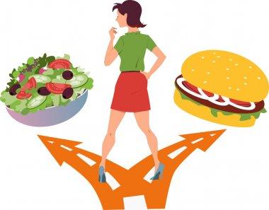 Choosing between healthy food and fast food