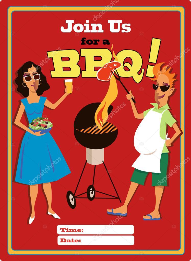 zu einer grill-party-vorlage — stockvektor #26465121, Einladung