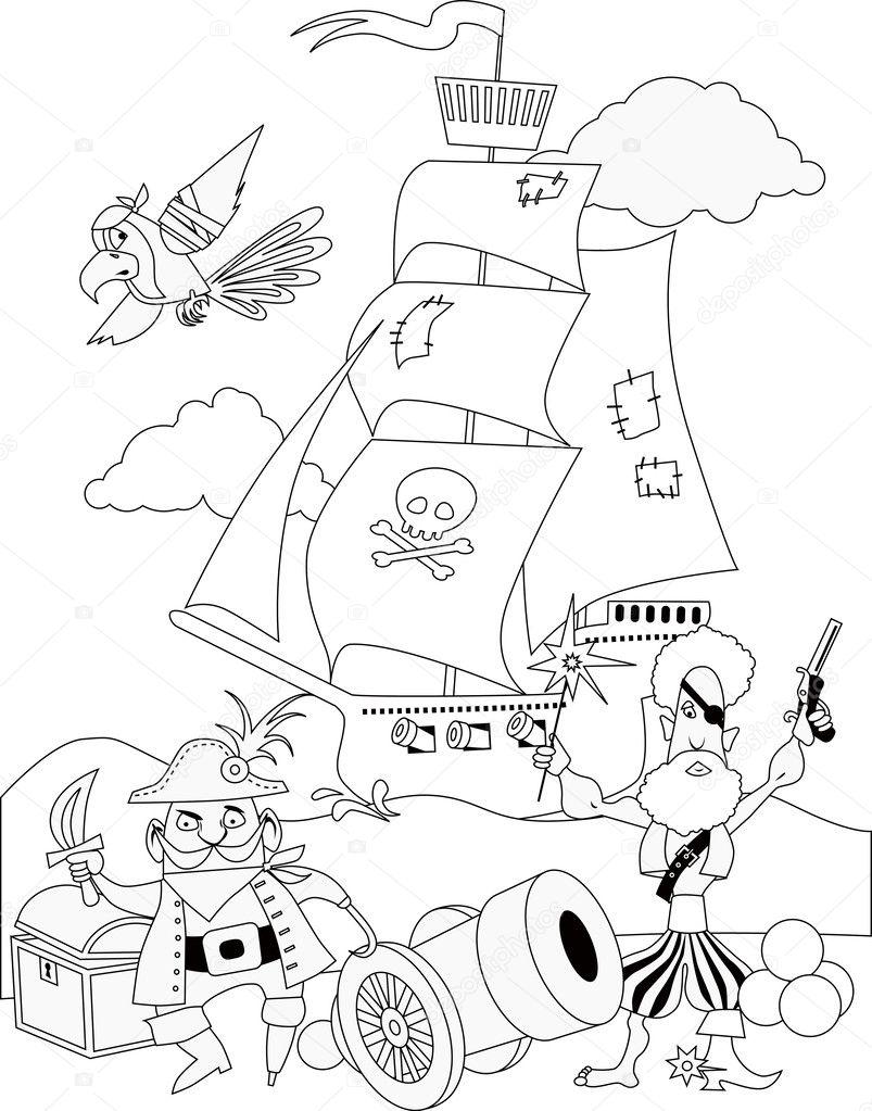 Korsanlar Sayfa Boyama Stok Vektör Aleutie 31309835