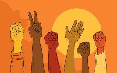 Hands rising in political protest