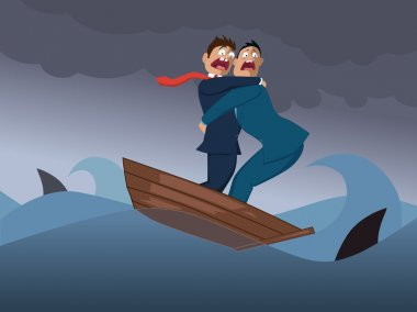 Two businessmen in one boat